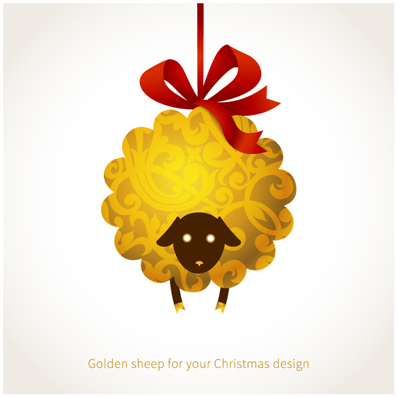 Golden Sheep Christmas Ribbon Vector
