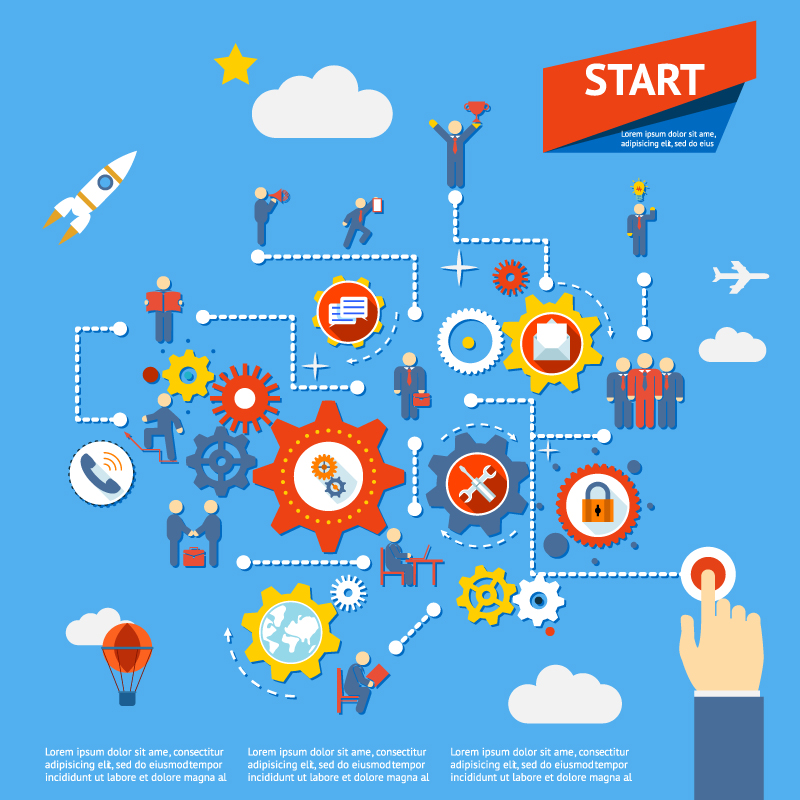 Infographics Gear Business Click Vector