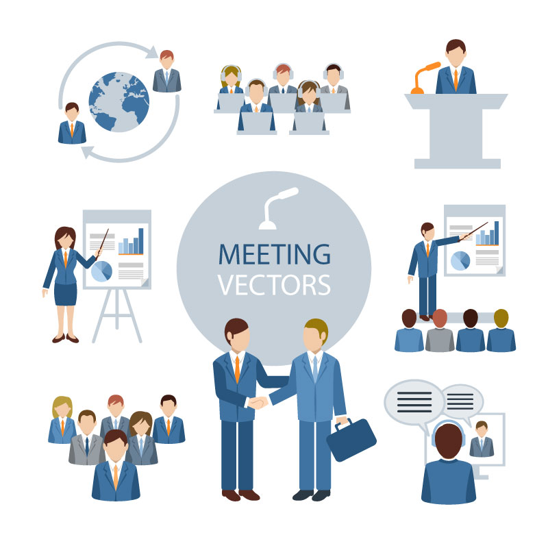 Infographics Meeting People Vector
