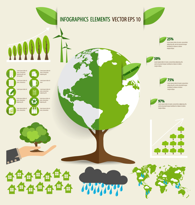 Infographics Think Green Vector