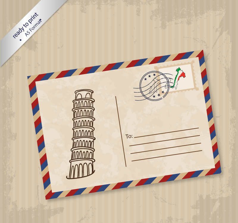 Leaning Tower of Pisa Postcards Vector
