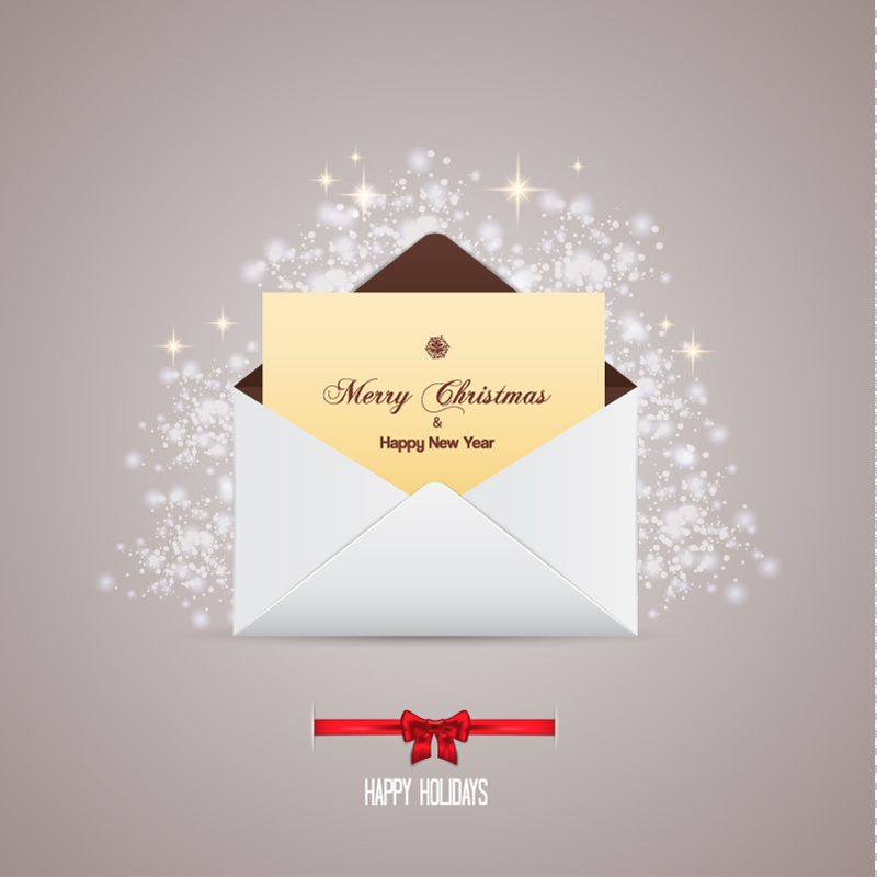 Merry Christmas & New Year Greeting Cards Vector