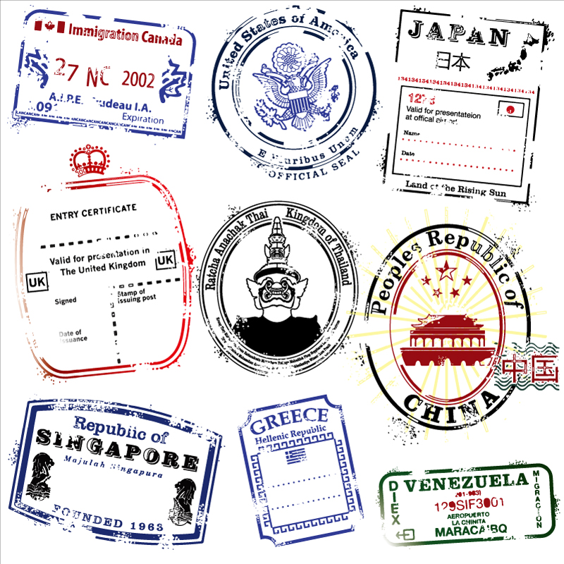 Nine Different Countries Postmark Vector