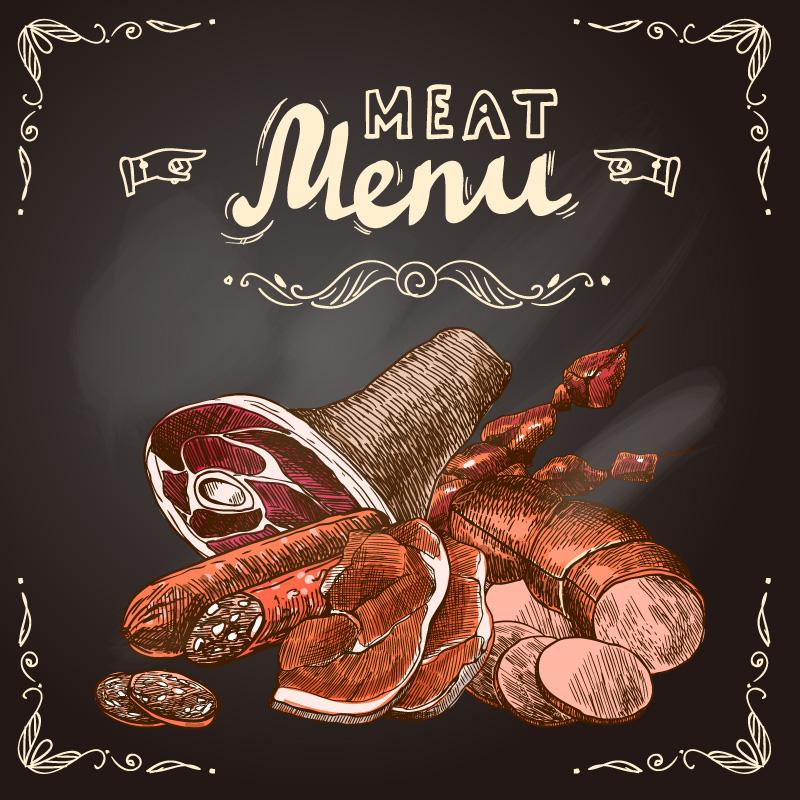 Retro Meat Menu Vector