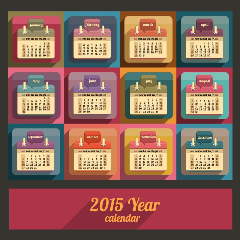 Flat Calendar 2015 Year Vector