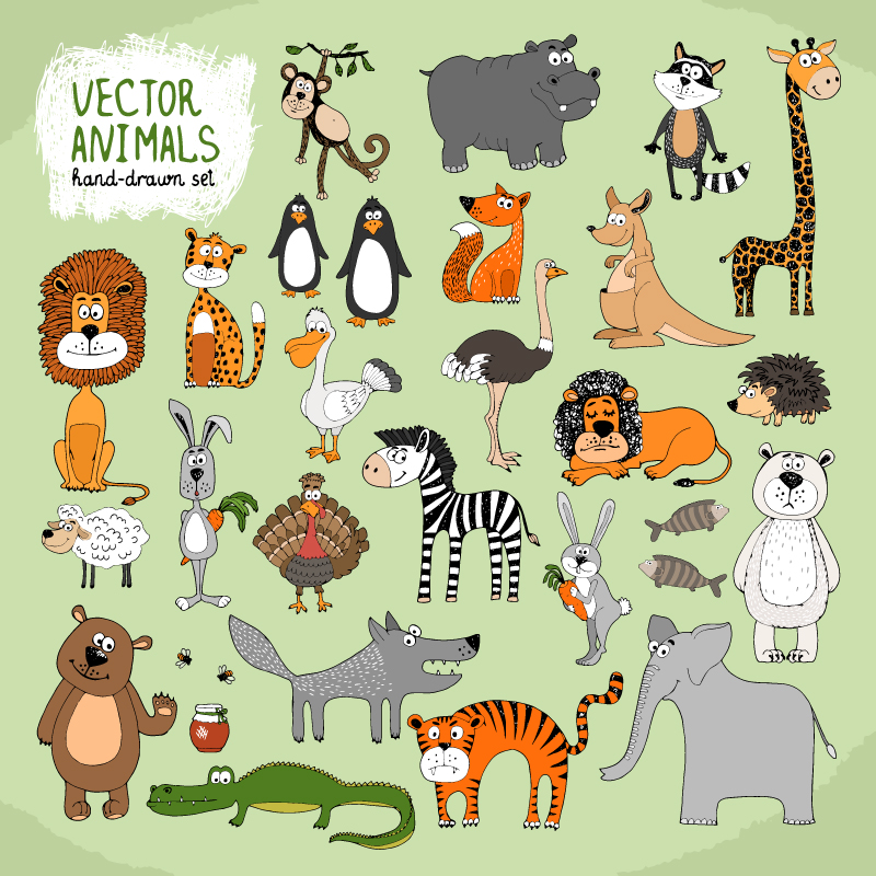 Hand-Painted Animal Design Vector