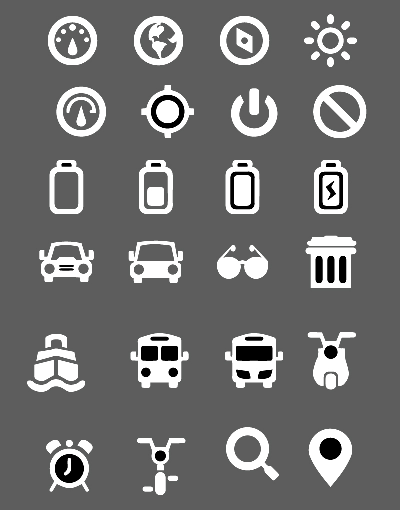 Multiple Simple Icons Vector