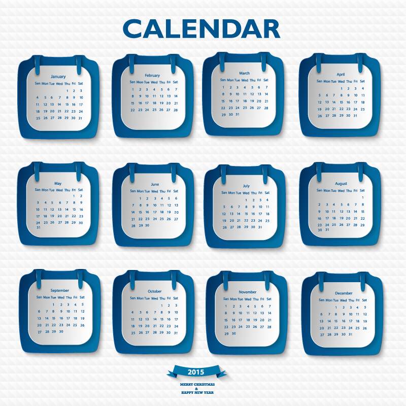 Blue Stickers Calendar 2015 Vector