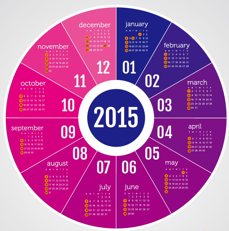 Calendar 2015 Color Disc Vector