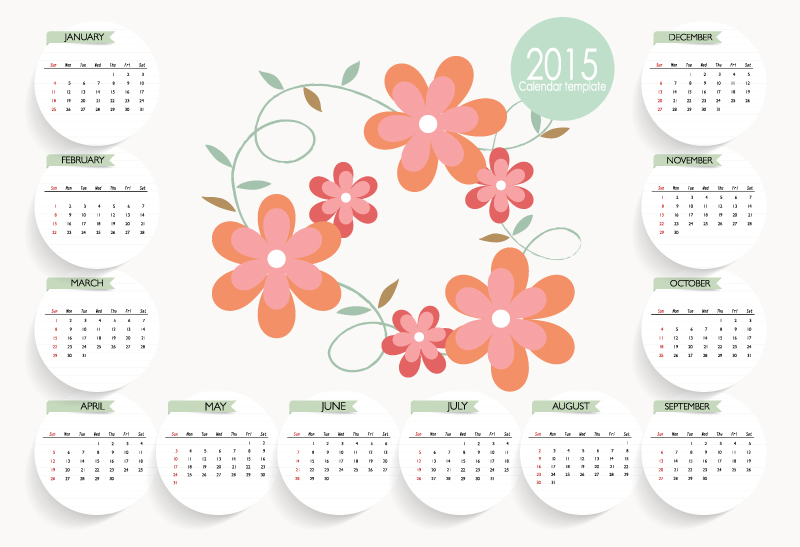 Calendar 2015 Cute Flower Vector