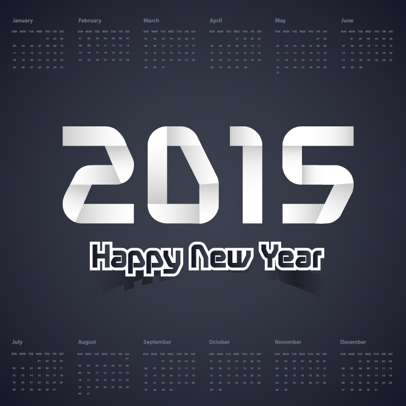 Calendar 2015 Dark Color Vector