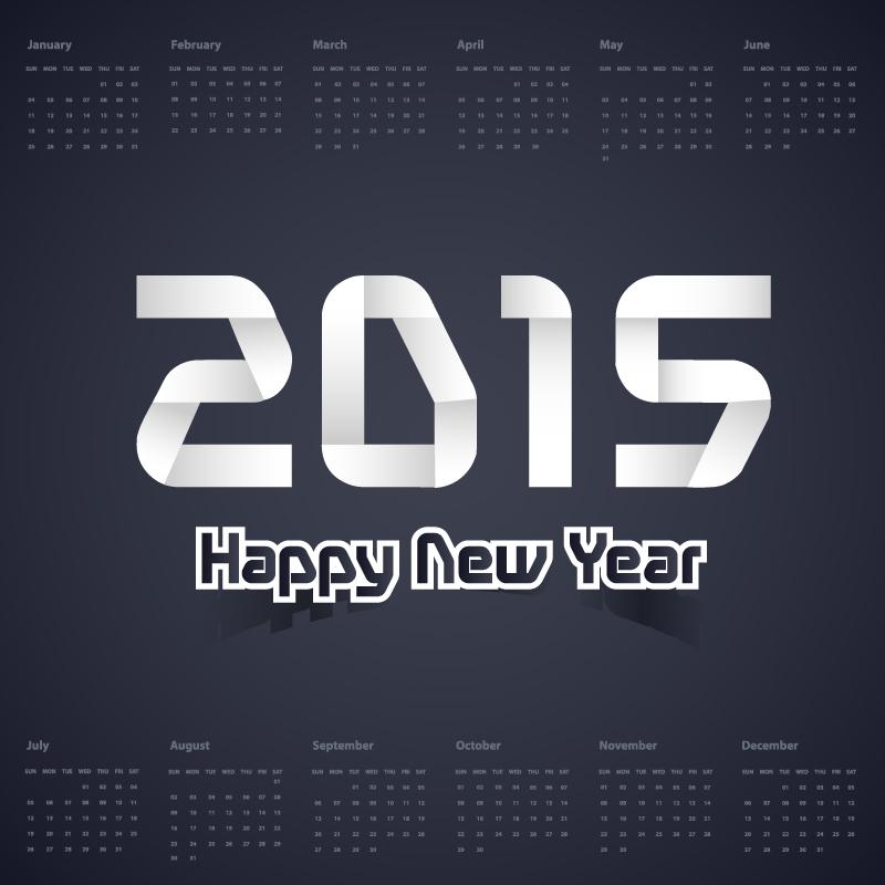 Calendar 2015 Dark Color Vector