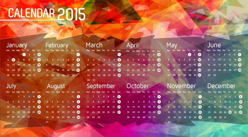 Colored Geometric Calendar 2015 Vector