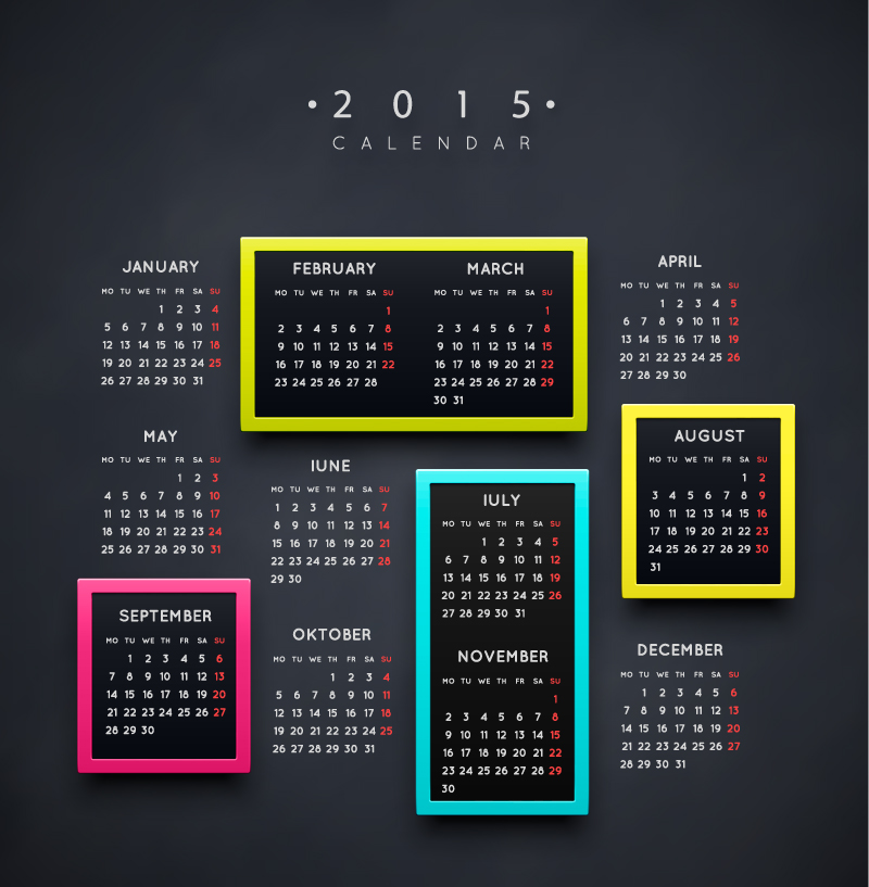 Colorful Box Calendar 2015 Vector