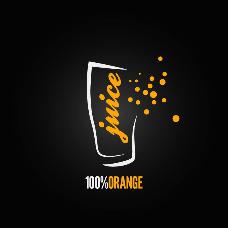 Juice Orange 100% Vector
