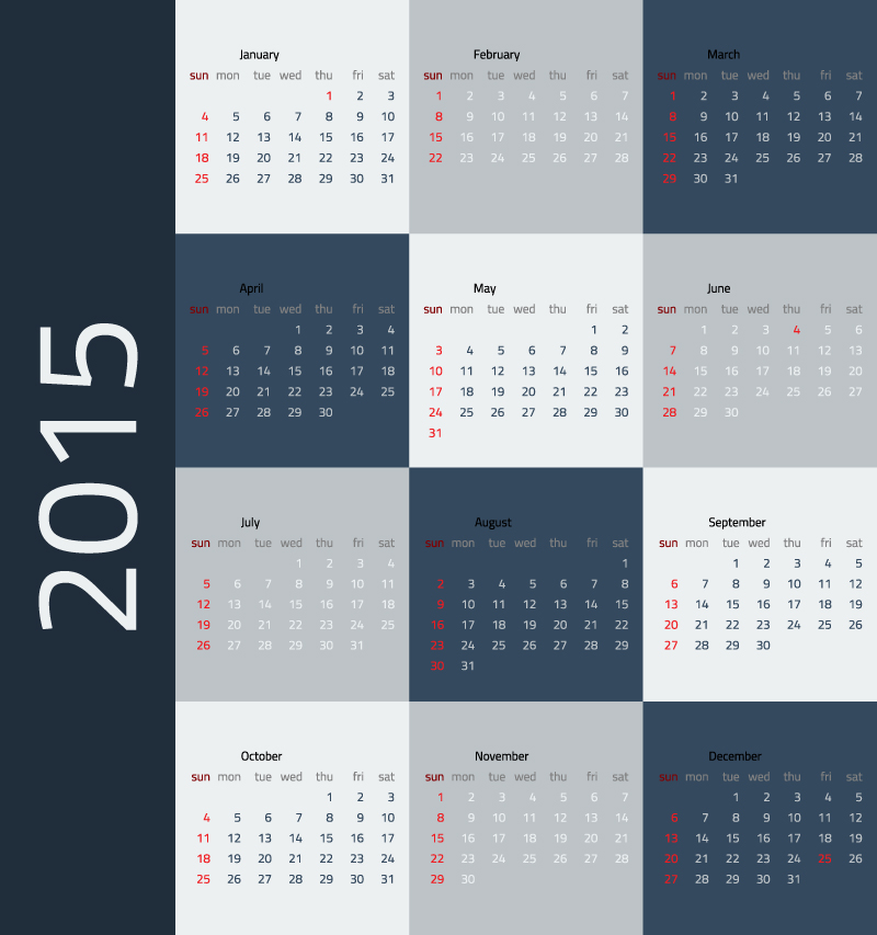 Dark Blue Lattice Calendar 2015 Vector