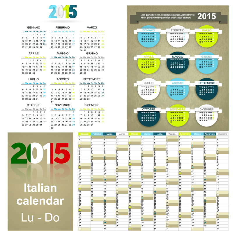 Italian Calendar 2015 Vector