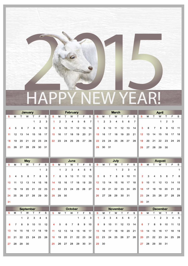 Mottled Sheep Calendar 2015 Vector
