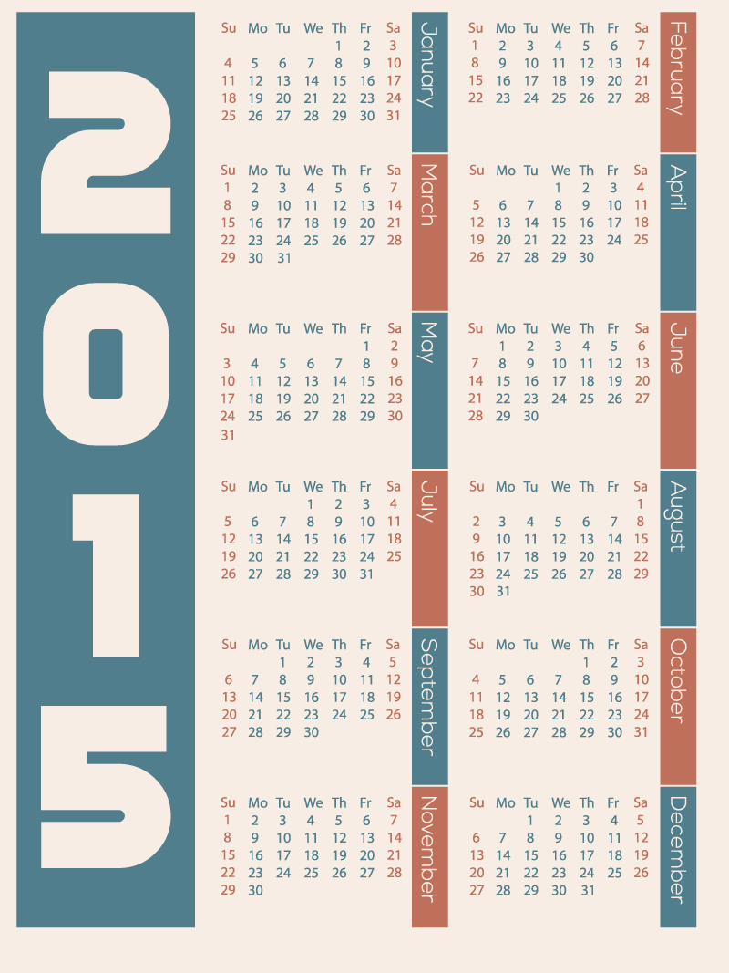 Simple Desc Calendar 2015 Vector