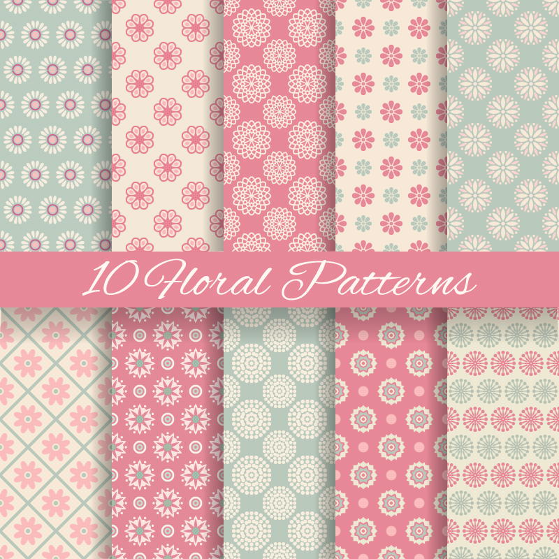10 Horal Patterns Vector