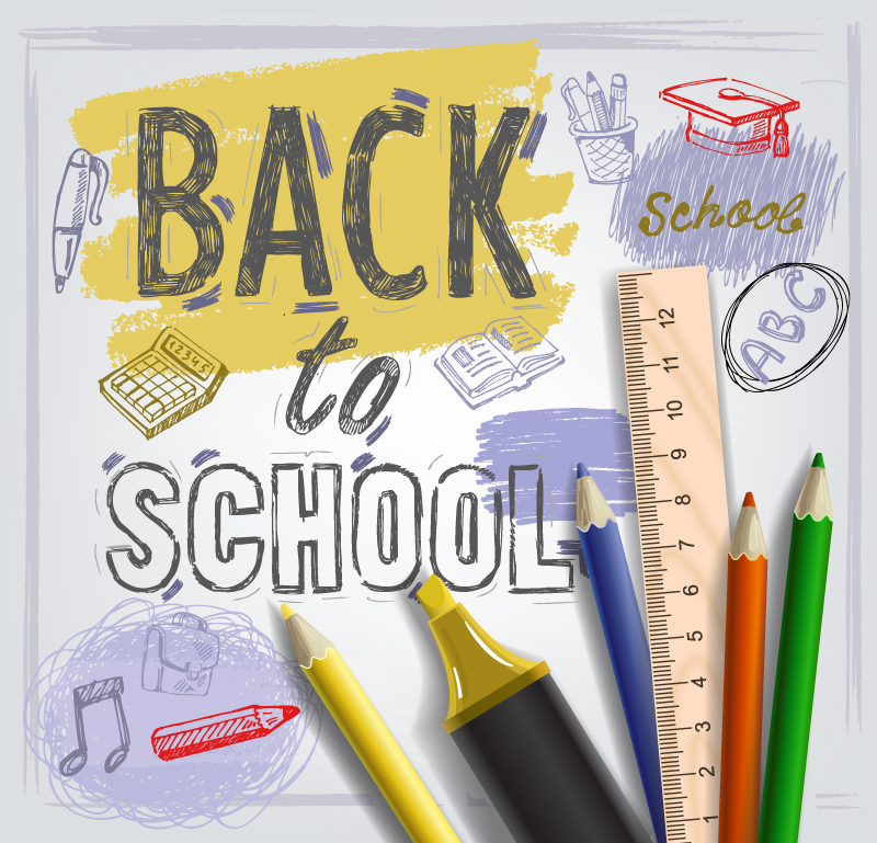Back to School Backgrounds And Stationery Elements Vector