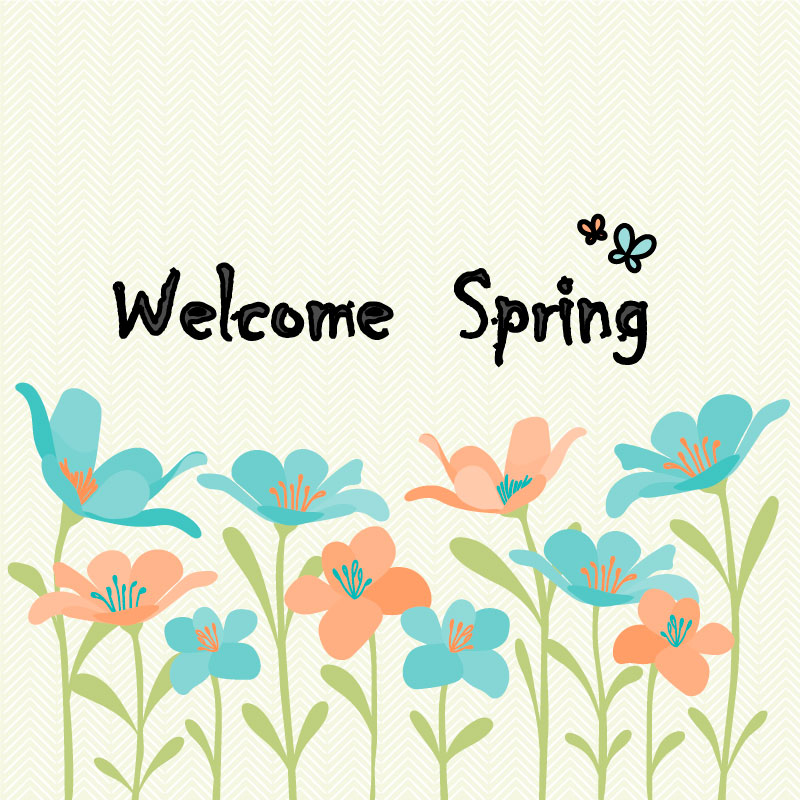 Cartoon Spring Flowers Vector