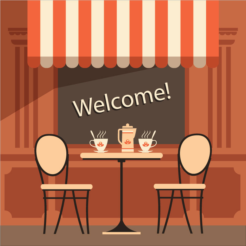 Outdoor Cafe Illustration Vector