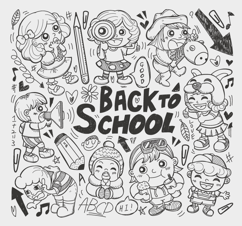 School Doodle Icons Elements Vector