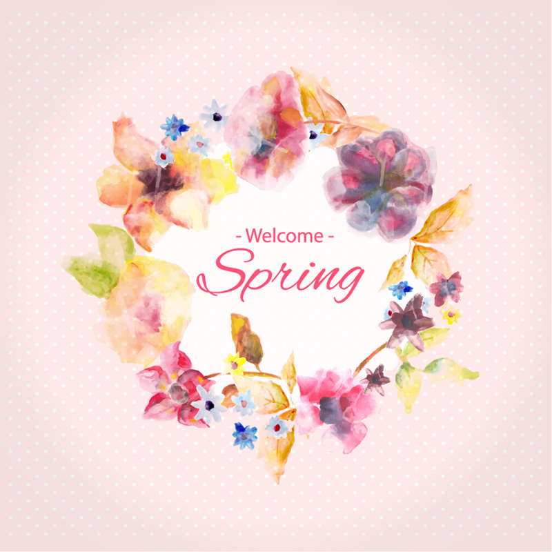 Spring Water Color Flowers Vector