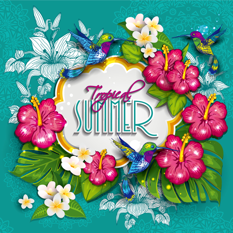Tropical Summer Flowers Vector