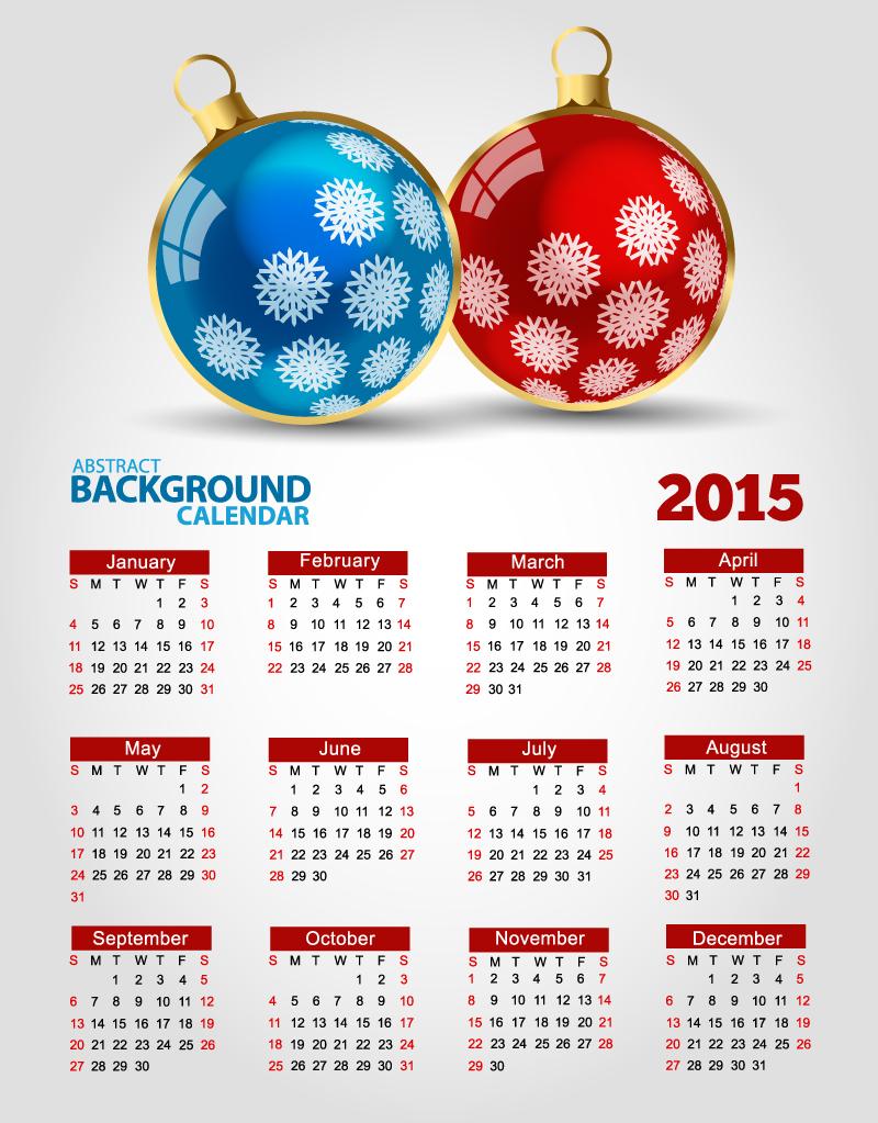 Xmas Ball Calendar 2015 Vector