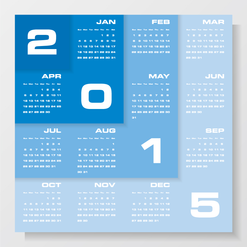 Calendar Design Vector Free Download : Blue design calendar vector free graphic
