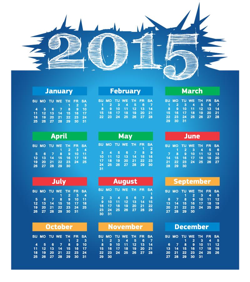 Blue Glitch Calendar 2015 Vector