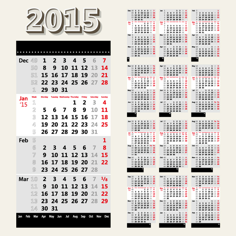 Calendar 2015 Black Red Vector