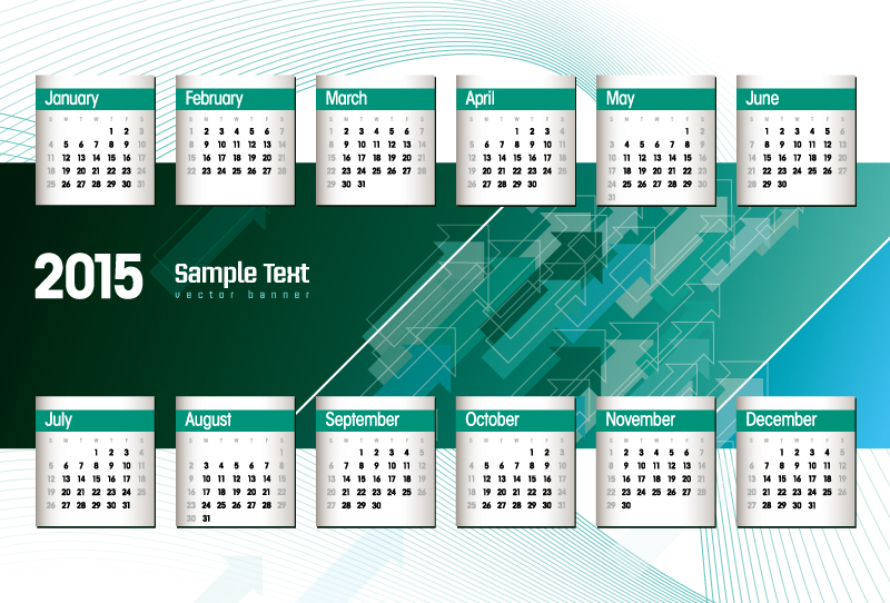 Calendar 2015 Green Arrow Vector