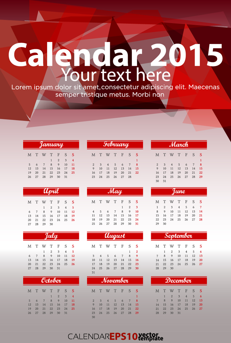 Calendar 2015 Red Triangle Vector