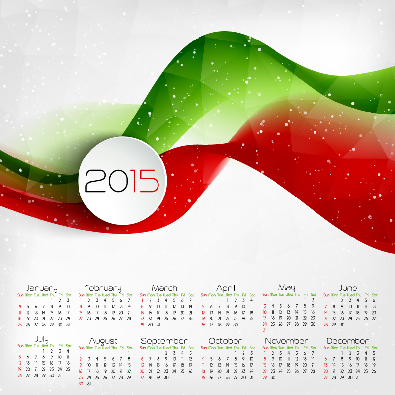 Colored Ribbon Calendar 2015 Vector