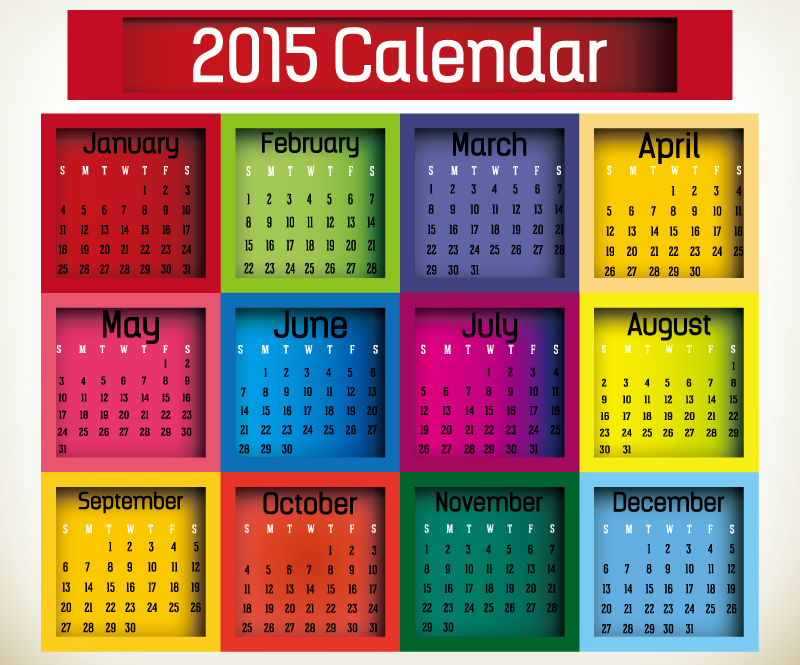 Colorful Lattice Calendar 2015 Vector