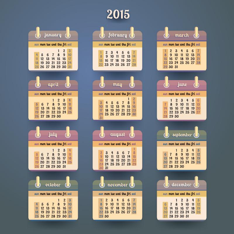 Desk Calendar 2015 Vector