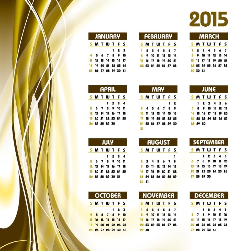 Dynamic Lines Calendar 2015 Vector