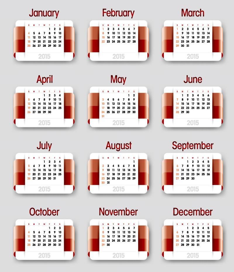 Gradient Ribbons Calendar 2015 Vector