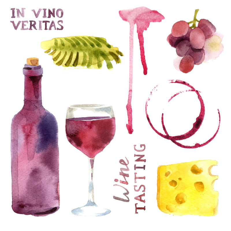 Wine Tasting Watercolor Vector
