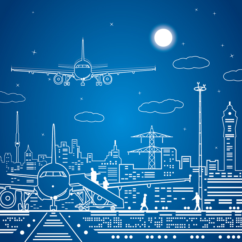Hand-Draw Aircraft and Urban Fashion Vector