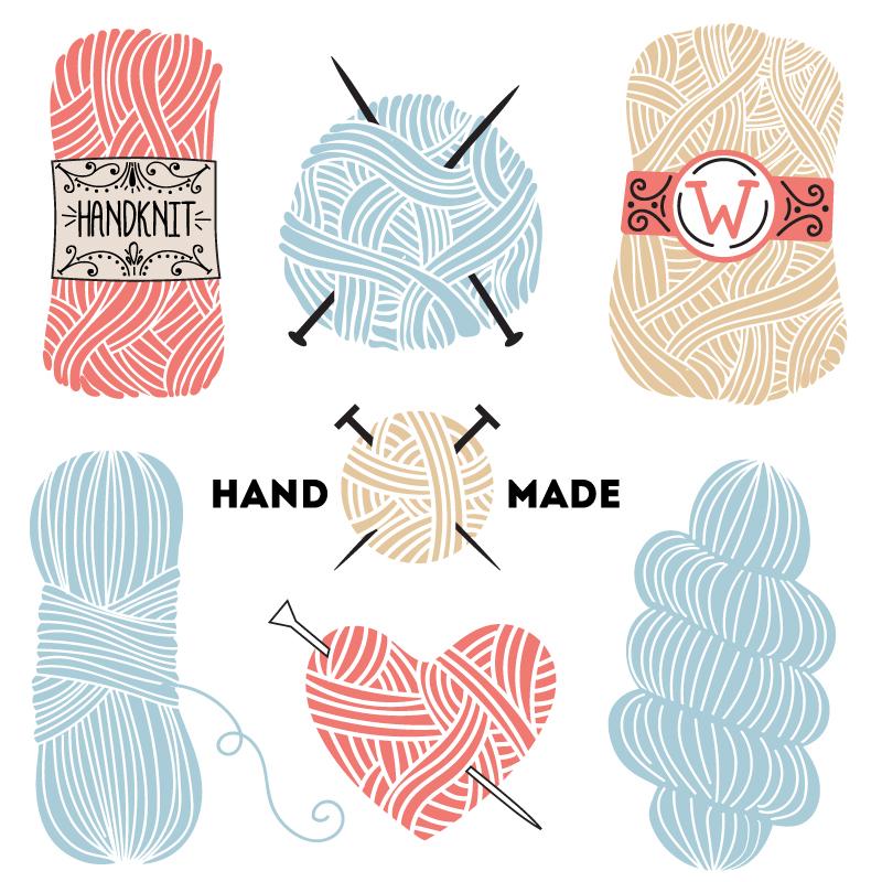 Hand Made Handknit Vector