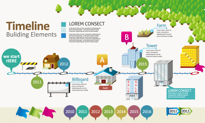 Timeline Buliding Elements Vector
