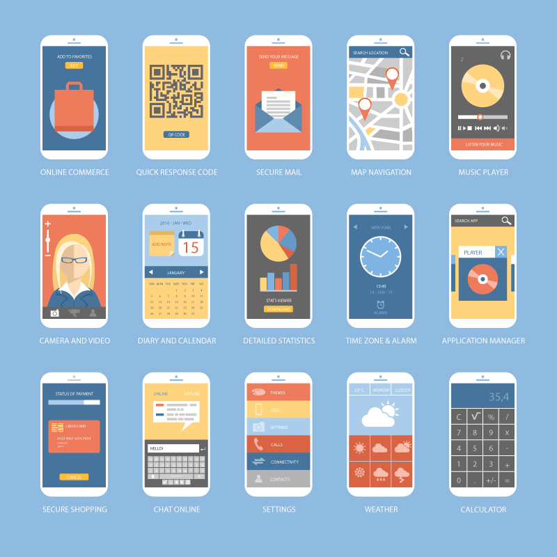15 Mobile App Ui Design Vector Free Vector Graphic Download