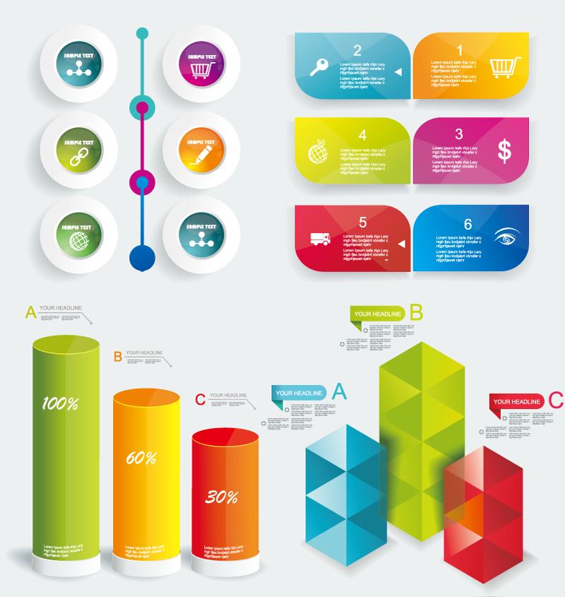 Colorful HeadLine Infographic Vector