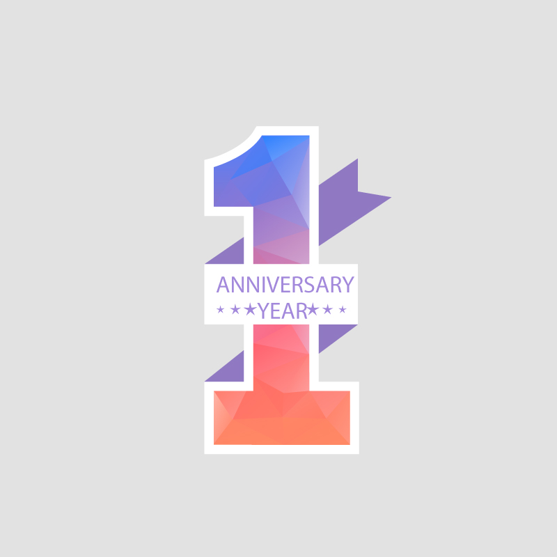 First Anniversary Year Vector