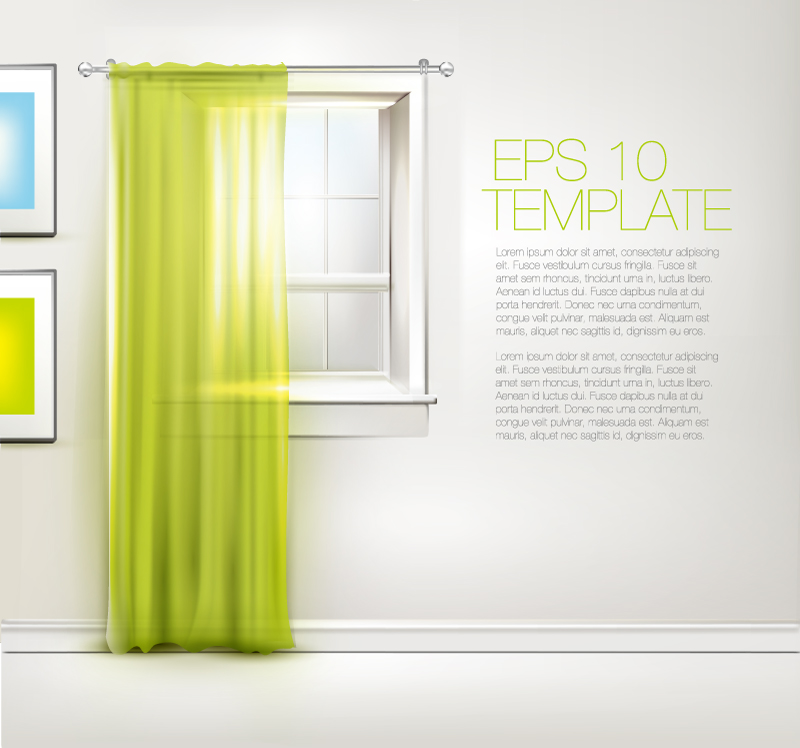 Green Window Background Vector