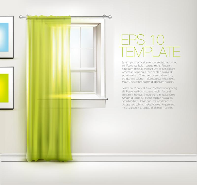Green Window Background Vector